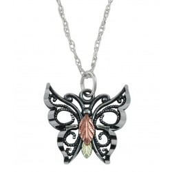 Coleman Black Hills Gold on Sterling Silver Butterfly Pendant