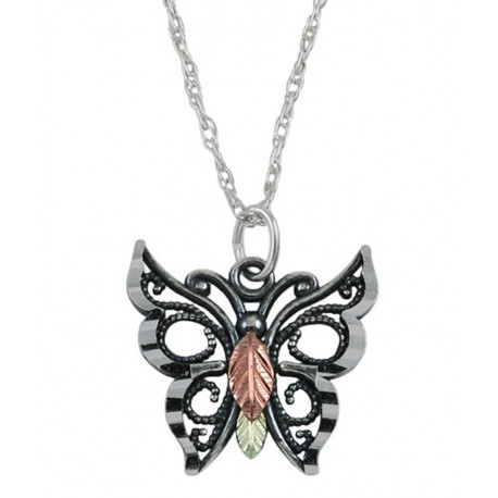 Black Hills Gold on Sterling Silver Butterfly Pendant