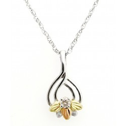 Black Hills Gold on Sterling Silver Pendant with Diamond