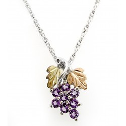 Black Hills Gold Sterling Silver Amethyst Grape Pendant Necklace
