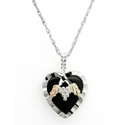 Black Hills Gold Silver 14x14 mm Onyx Heart Ladies Necklace