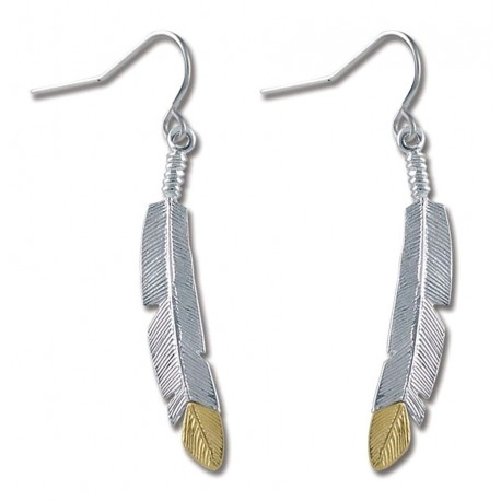 Black Hills Gold Sterling Silver 10K Gold Feather Earrings