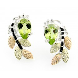 Black Hills Gold on Sterling Silver Post Earrings with Peridot