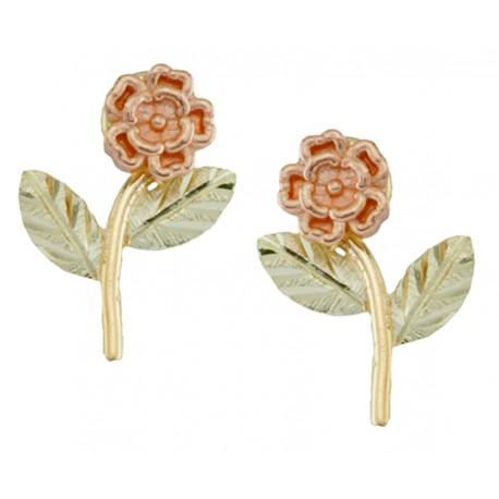 Small 10k Black Hills Gold Flower Earrings