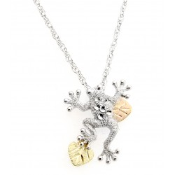 Black Hills Gold Ladies .925 Sterling Silver Frog Pendant Necklace