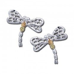 Landstrom's® Black Hills Gold on Sterling Silver Dragonfly Earrings