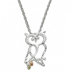 Black Hills Gold on Sterling Silver Owl Pendant with Chain