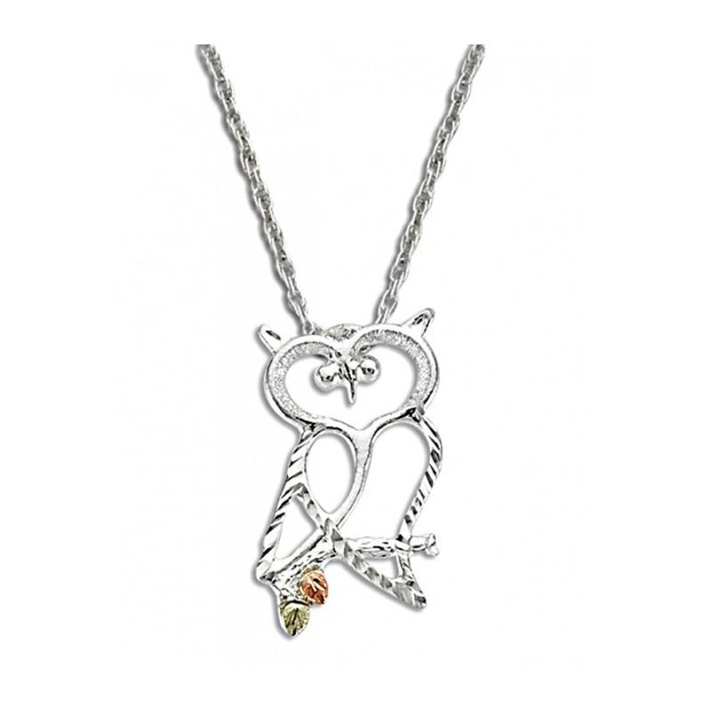 Black hills gold on sterling silver owl pendant with chain black hills gold on sterling silver owl pendant with chain mozeypictures Image collections