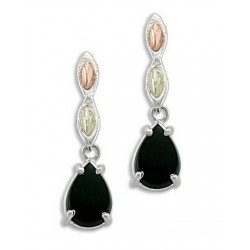 Black Hills Gold on Sterling Silver Earrings with Onyx