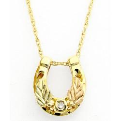 10K Black Hills Gold Horseshoe Pendant with Diamond