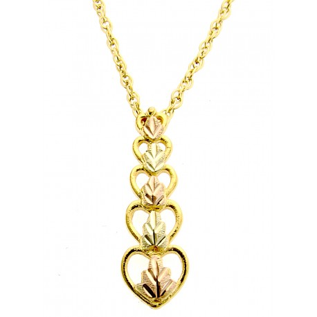 10K Black Hills Gold Hearts Pendant w Gold Filled Chain