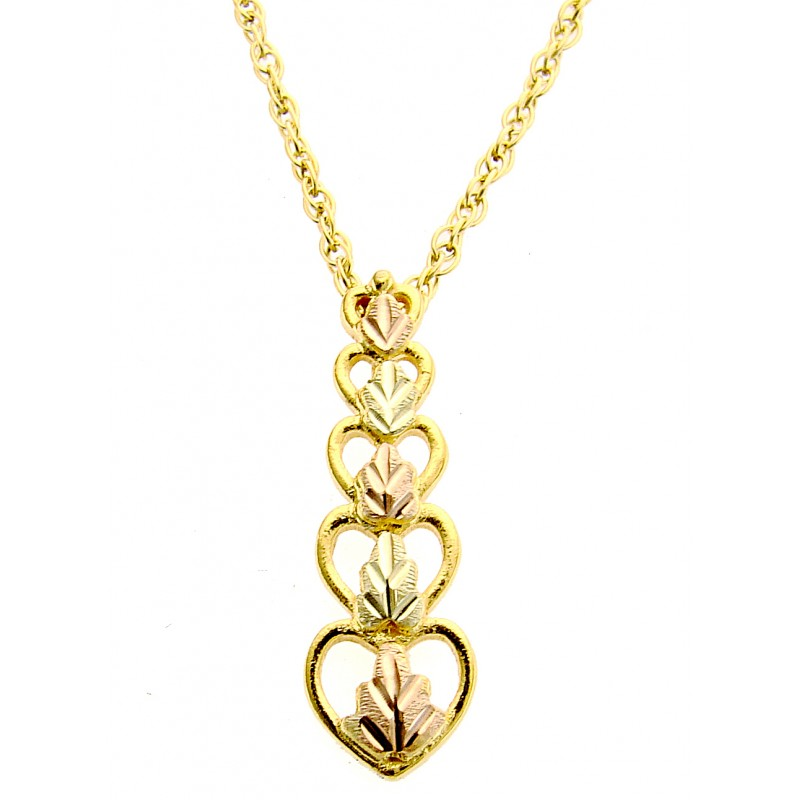10k black hills gold hearts pendant w gold filled chain aloadofball Choice Image