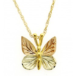 Mt Rushmore 10K Black Hills Gold Butterfly Pendant