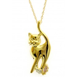10K Black Hills Gold Cat Pendant