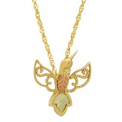 10K Gold Hummingbird Pendant Necklace