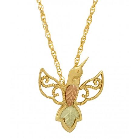 10K Gold Hummingbird Pendant Necklace