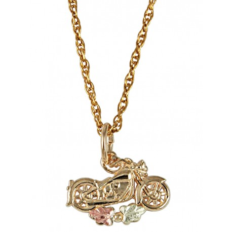 10K BLACK HILLS GOLD LADIES MOTORCYCLE PENDANT NECKLACE