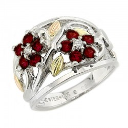 Black Hills Gold on Silver Birthstone Cluster Ring