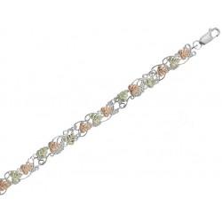 Black Hills gold on Sterling Silver Grapevine Bracelet W/ 12k Green & Rose Gold Leaves