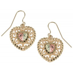 10k Black Hills Gold Heart Earrings with Shepherd Hooks