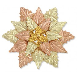 Landstrom's®  Black Hills Gold Tri-Color Flower Brooch Pendant