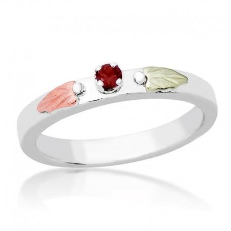 Elegant Genuine Birthstone Ring Black Hills Gold on Sterling Silver