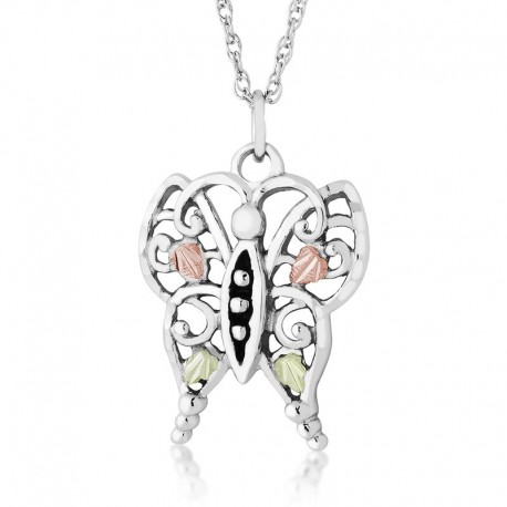 BLACK HILLS GOLD LADIES .925 STERLING SILVER BUTTERFLY PENDANT NECKLACE