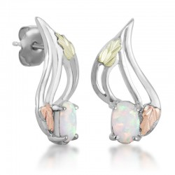 Stylish Black Hills Gold on Silver Earrings with Opal