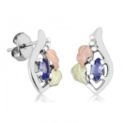 Unique Black Hills Gold on Sterlin Silver Earrings with Genuine Tanzanite