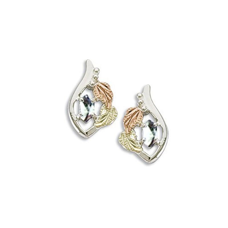 black gold on sterling silver birthstone earrings