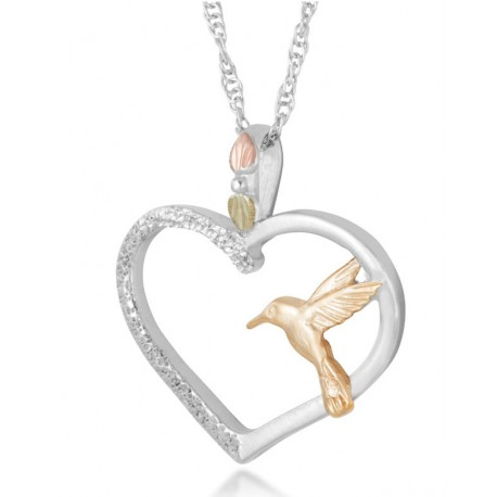 Black Hills Gold Sterling Silver Heart Pendant with 10K Hummingbird