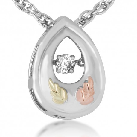 Landstrom's®  Black Hills Gold on Sterling Silver Glimmer Pendant w/ Diamond