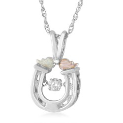 Landstrom's® Black Hills Gold on Sterling Silver Glimmer Horseshoe Pendant w/ .10 CT Diamond