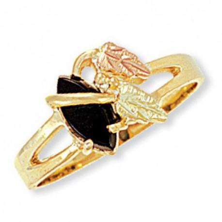 BLACK HILLS GOLD ONYX LADIES RING