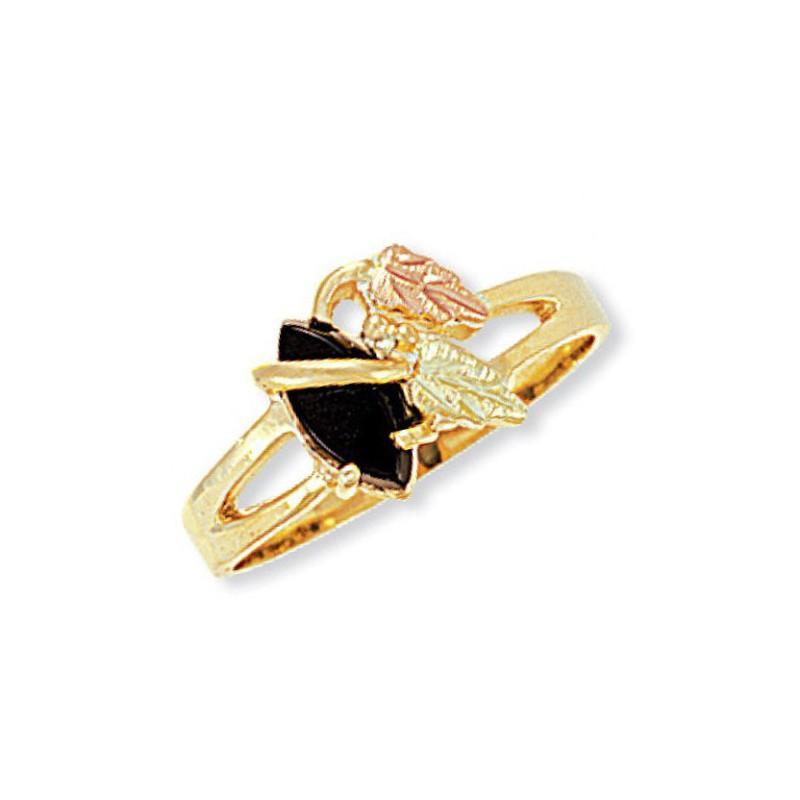 845ae812ed972 10K Black Hills Gold Onyx Ring With 12K Gold Leaves - BlackHillsGold ...
