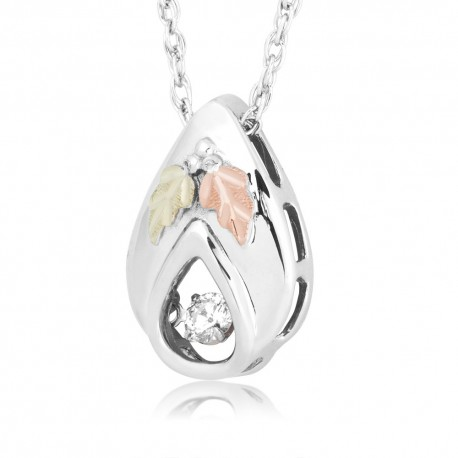 Landstrom's® Black Hills Gold on Silver Glimmer Teardrop Pendant w/ Diamond