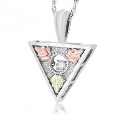 Landstrom's® Black Hills Gold on Silver Triangular Glimmer Pendant w/ .10CT Diamond