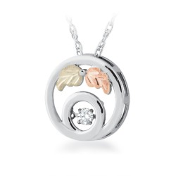 Landstrom's® Black Hills Golde on Silver Glimmer Diamond Circle Pendant Necklace