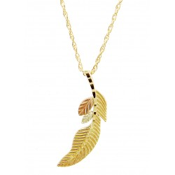 10K Black Hills Gold Feather Pendant