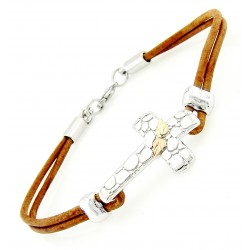 Black Hills Gold on Sterling Silver Cross Leather Bracelet