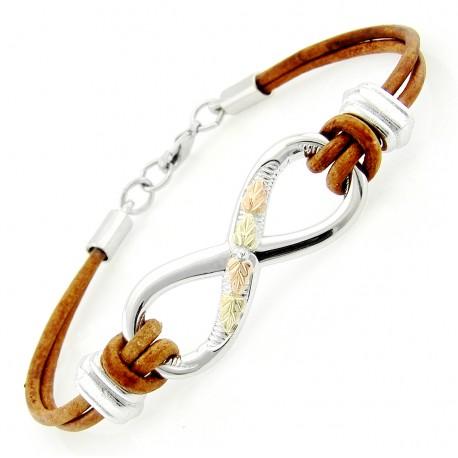 Black Hills Gold Sterling Silver Infinity Leather Bracelet