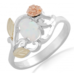 Landstrom's® Black Hills Gold and Sterling Silver Opal Ring with Rose
