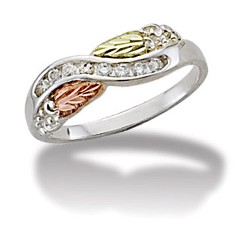 Black Hills Gold on Sterling Silver Ring with 0.16CT Diamond