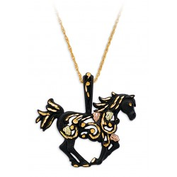 Black Hills Gold on Black Powder Coated Horse Pendant Necklace
