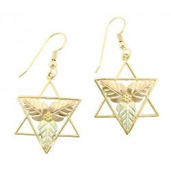 10K Black Hills Gold Star of David Earrings