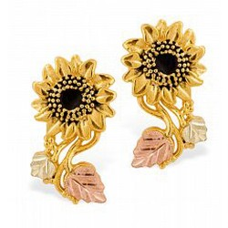 Stunning 10k Black Hills Gold Sunflower Earrings