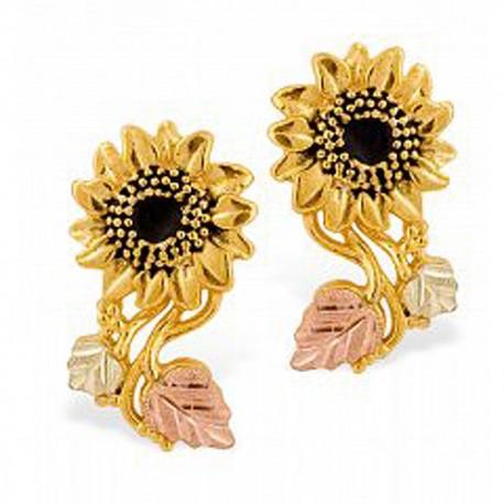 Stunning 10k Black Hills Gold Sunflower Earrings
