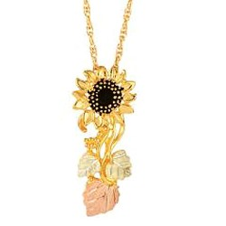 Stunning 10K Black Hills Gold Sunflower Pendant