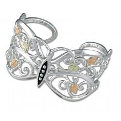 Black Hills Gold on Sterling Silver Butterfly Cuff Bracelet