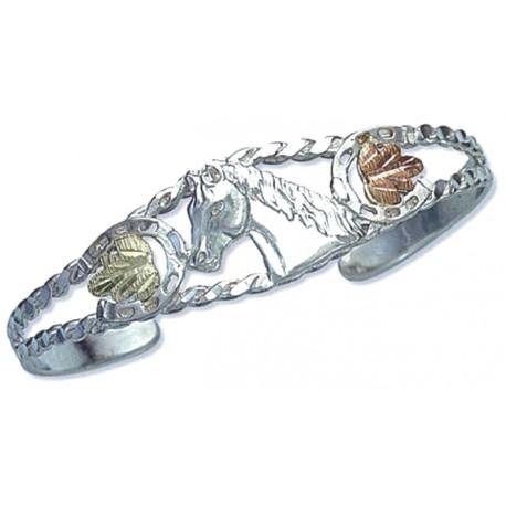 Landstroms® Black Hills Gold on Silver Cuff Bracelet w/ Horse Head
